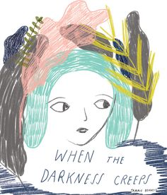 tammie bennett's illustration when the darkness creeps . Illustration Art Drawing, People Illustration, Portrait Illustration, Art Drawings, Plant Art, Happy Art, Beautiful Drawings, Woman Painting, Illustrations Posters
