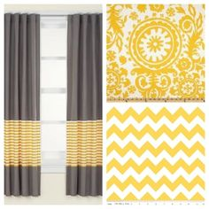 curtain idea - good way to lengthen curtains. A creepily opposite idea of my living room curtains. weird, I tells ya. Lengthen Curtains, Drapes Curtains, Black Curtains, Drapery, Window Coverings, Window Treatments, Home Projects, Sewing Projects, Curtain Designs