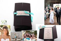 black and tiffany blue wedding invitation
