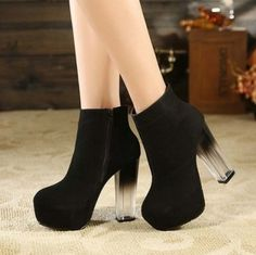 """✡✡✡✡✡✡✡✡✡✡✡✡✡✡✡✡✡✡✡✡✡ ~Size: 4, 5, 6, 7, 8 ~Color: Black Clear Heel ~Heel Height: 3""""-4"""" ~Material: Flock and PU Leather  ✡✡✡✡✡✡✡✡✡✡✡✡✡✡✡✡✡✡✡✡"""