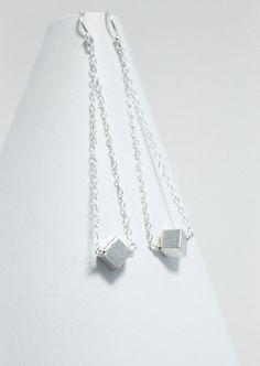 Modern Earrings, Metal Cube Earrings, Long Dangle Silver Earrings, Geometric Earrings, Simple Minimalist Earrings, Silver Edgy Earrings