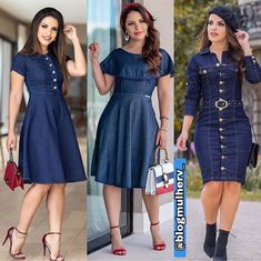 Shop sexy club dresses, jeans, shoes, bodysuits, skirts and more. Demin Dress, Denim Skirt Outfits, Dress Outfits, Casual Dresses, Frock Fashion, Denim Fashion, Fashion Outfits, Classy Dress, Classy Outfits