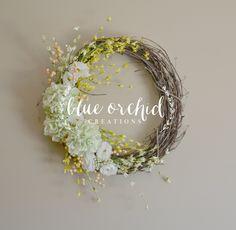 Wreath - Wedding Wreath, Green Wreath, Hydrangea Wreath, Berry Wreath, Summer Wreath, Initial Wreath, Rustic, Country, Shabby Chic by blueorchidcreations on Etsy https://www.etsy.com/listing/232692515/wreath-wedding-wreath-green-wreath