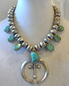 Signed Vintage E Hale NAVAJO Sterling Silver & TURQUOISE Squash Blossom NECKLACE #AUTHENTICVINTAGENATIVEAMERICANJEWELRY