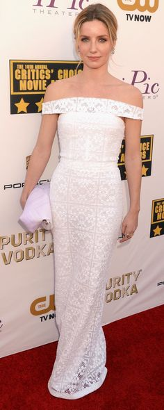 British actress Annabelle Wallis wearing a lace Burberry S/S14 dress at the Critics Choice Awards