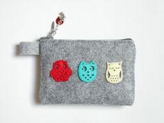 Porte-cartes / Porte-monnaie motif Hiboux : Porte-monnaie, portefeuilles par lavande-bleue