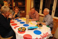 Twister table cloth  Game Night theme - blue and gold banquet