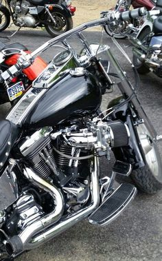 I want those bars and intake. Harley Fatboy, Harley Davidson, Bike, Bicycle, Bicycles