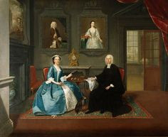 ca. 1743-1744 - 'The Reverend Streynsham Master and His Wife, Margaret of Croston, Lancashire' by Arthur Devis. (English, Preston, 1712-1787). Oil on Canvas