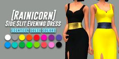 "YellowJealousy : Partiendo La Pana - Formal Dresses Collection (Part 3) - Rainicorn ""Side Slit Evening Dress""."