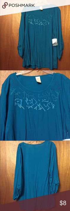 NWT Embroidered Teal Leggings Shirt 🎀 NWT Embroidered Teal Shirt 🎀 Size Large 🎀 Faded Glory Tops Tunics