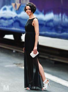 long black dress madame magenta vestido negro largo transparente bolso tachuelas studded clutch clon hermes bracelet