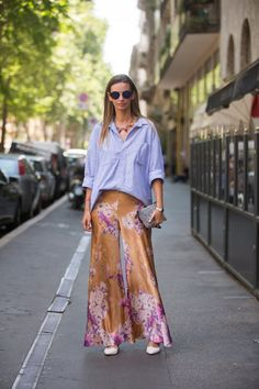 Pin for Later: 150+ Looks to Inspire Your Best Dressed Summer Yet  A menswear-inspired button-down helped dress down a fabulous pair of billowing pants.