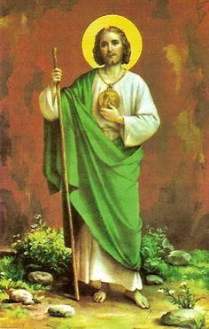 San Judas Tadeo.  El patrón de los casos difíciles y desesperados.  Su día: 28 de octubre. Judío.   ¡ Santo Apostol, San Judas, fiel siervo y amigo de Jesús !.