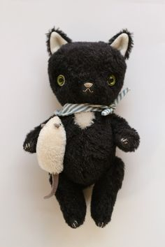 Vintage style cat doll by Fox and Owl.  Oh, how this reminds me of my teddy missing an eye!