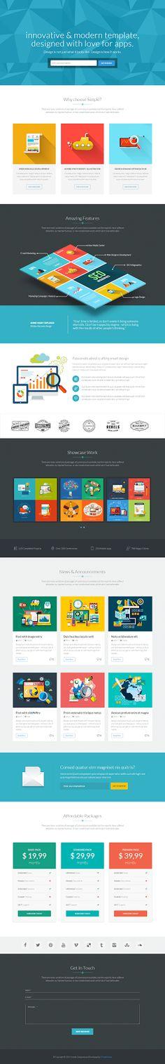 Simple and Elegant One Page Bootstrap WordPress Theme #webdesign #onepage #landingpage