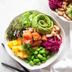 Poké Bowl - Diet And Nutrition Poke Bowl, Raw Food Recipes, Asian Recipes, Vegetarian Recipes, Healthy Recipes, Sushi, Health Eating, Diet And Nutrition, Superfood
