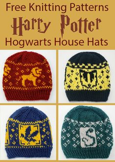 Free Knitting Pattern for Harry Potter Hogwarts House Hats - Beanies with fair i. - knitting hat , Free Knitting Pattern for Harry Potter Hogwarts House Hats - Beanies with fair i. Free Knitting Pattern for Harry Potter Hogwarts House Hats - Beani. Tricot Harry Potter, Harry Potter Crochet, Harry Potter Hogwarts, Harry Potter Beanie, Harry Potter Sombrero, Ravenclaw, Slytherin Snake, Drops Baby, Easy Knitting Projects