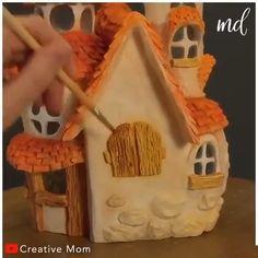 Fairy House Crafts, Clay Fairy House, Fairy Houses, Diy Home Crafts, Clay Crafts, Fun Crafts, Diy Pour Enfants, Fairy Tree, Clay Fairies
