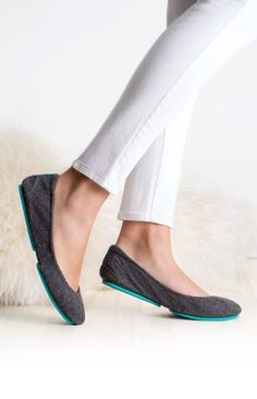 Greystone Tieks - a vegan interpretation of wool in neutral grey is soft, durable, and breathable. | Tieks Ballet Flats