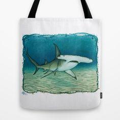 Tote Bag • Great Hammerhead Shark watercolor by wildlife artist Amber Marine ••• AmberMarineArt.com
