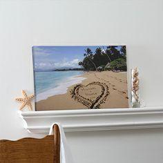 Personalized Canvas Art - Sandy Beach Tropical Island Design - 8493