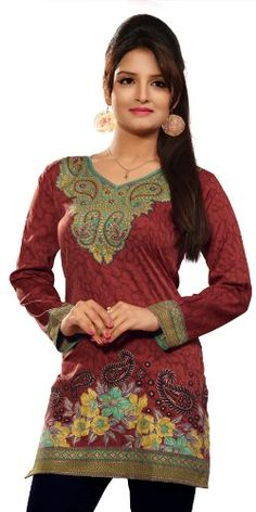 #Brown Fancy Look #Tunic  For More Kurtis/Tunic Check this page now :-http://www.ethnicwholesaler.com/kurtis-tunics