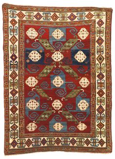 A Kazak pinwheel rug, Southwest Caucasus approximately 7ft. 6in. by 5ft. 6in. (2.29 by 1.68m.) circa 1890
