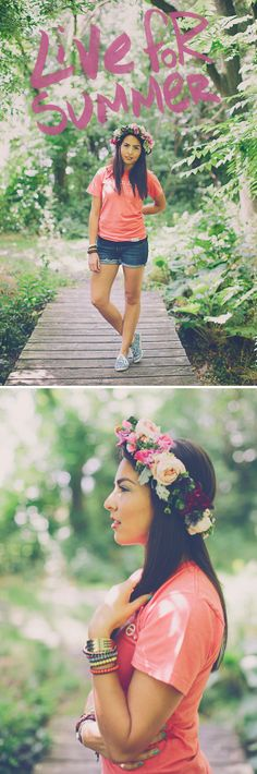 walk in love. // Coral // T-Shirt Fashion // Summer // Floral // Flower Crown // DIY // Pretty Girl // Live // Women's Fashion // Outfit Of The Day