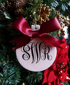 Personalized Christmas Ornament, Wedding gift, Just married ornament, Bridesmaid gift, Monogram ornament.