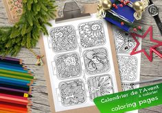 Advent Calendar coloring / downloadable Print / Color by Zendessin