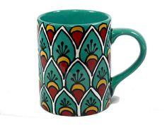 "The TikiQueen via Etsy // Tea, Red and Yellow Talavera Style Mug/Coffee Cup -- ""Peacock"" (24)"