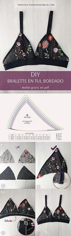Costura fácil: Bralette en tul bordado + molde gratis - Home Decor Ideas Diy Clothing, Sewing Clothes, Clothing Patterns, Clothes Crafts, Fashion Sewing, Diy Fashion, Ideias Fashion, Diy Bralette, Robe Diy