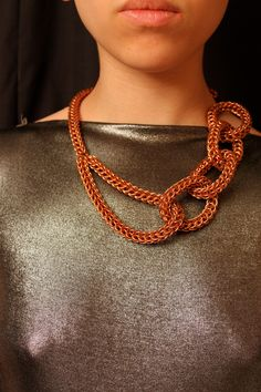 Chainmaille copper MetaMaille Necklace. via Etsy.