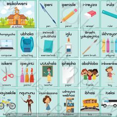 * Size – 2 per page – 12 x Resources are for personal use only – at your home or classroom. Zulu Language, English Language, Farm Animals Preschool, Xhosa, English Writing Skills, Home Schooling, Afrikaans Language, Acting, Classroom