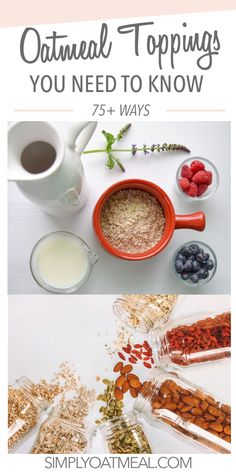 Looking for a list of the best oatmeal toppings and fun flavor combinations to put together. Here are a list of delicious oatmeal toppings that you will wish you knew about earlier. Oatmeal Toppings, Homemade Peanut Butter, Best Oatmeal, Oats Recipes, Healthy Sweets, Fresh Fruit, Breakfast Recipes, Overnight Oats, Recipe Ideas