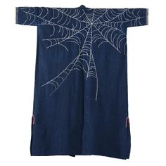 Japanese Indigo Farmer's Jacket with Spider Web. LOVE the detail-you could hand or machine embroider this on any jacket.