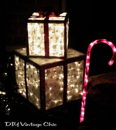 how to make lighted outdoor gifts for Christmas porch decor - DIY Vintage Chic via @Remodelaholic