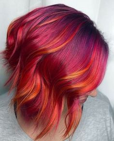 Red Ombre Hair, Red Hair Color, Cool Hair Color, Red Hair With Purple, Hair Color Ideas, Vibrant Red Hair, Purple Ombre, Creative Hair Color, Fire Hair