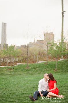 Brooklyn Bridge Park Engagement Session Photos #brooklyn #engagementphotos #red #film #photography
