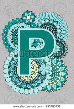 Bright Capital Letters English Alphabet. Mandala. ABC book. Isolated Vector Elements. Abstract Background. P