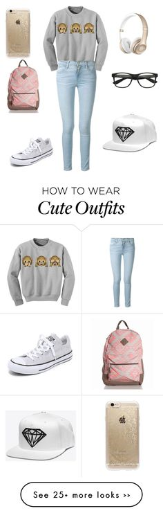 """Nerdy girl outfit"" by mjbouldt on Polyvore featuring Frame Denim, Converse and Rifle Paper Co"