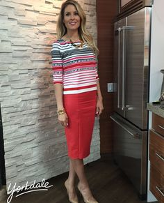 Wednesday, March 25th | Dina's outfit included: RW & CO. Red, Pink, Black & White Striped 3⁄4 Sleeve Top $55.90 GUESS BY MARCINAO Coral Pencil Skirt $128.00 BANANA REPUBLIC Gold Bracelet $55.00 KATE SPADE NEW YORK Gold Collar Necklace $148.00 VINCE CAMUTO Black Triple Strap Heels $190.00