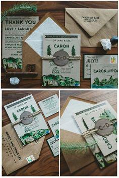 Rustic Woodland Watercolor Big Sur Botanical Wedding Invitation. These beautifully illustrated wedding invitations feature big surs in the mountains with kraft style envelopes