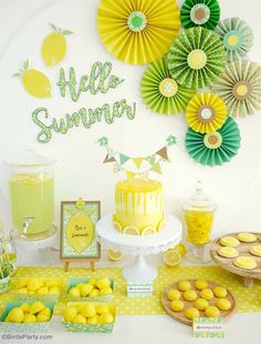 Lemon Themed Party Ideas with DIY Decorations - easy paper party decor for any summer celebration birthday weddings baby showers and more By BirdsParty for CulturaFr and Clairefontaine Yellow Birthday, Summer Birthday, Diy Birthday, Birthday Party Themes, Card Birthday, Birthday Greetings, Happy Birthday, Themed Parties, Summer Party Themes