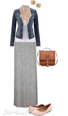 Cute casual outfit by mallory grey maxi skirts, maxi skirt outfits, dress skirt, Mode Outfits, Fall Outfits, Casual Outfits, Fashion Outfits, Womens Fashion, Hijab Casual, Dress Casual, Fashion Clothes, Casual Wear