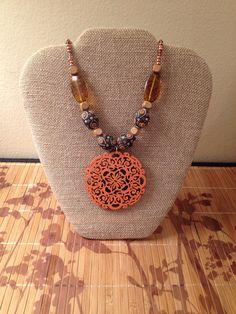 Orange wood necklace by MindfulMandala on Etsy