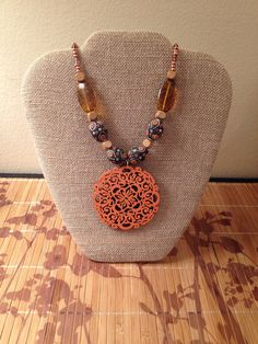 Orange wood necklace by MindfulMandala on Etsy