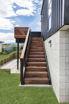 Stairs to upstairs deck Decks, Living Area, Stairs, Building, Home Decor, Stairway, Decoration Home, Room Decor, Front Porches