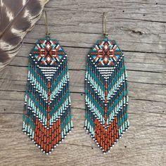 Mayahuel...Fractal seed bead earrings, sacred geometry, handmade, OOAK, tribal, gypsy, boho, native style, southwestern